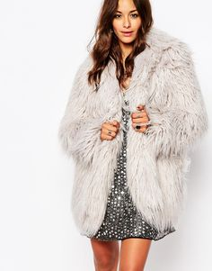 Image 1 of Religion Longline Faux Fur Coat In Shaggy Longhair