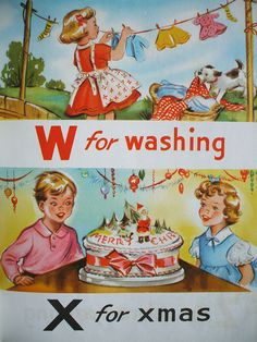"""W"" for 'washing' - ""X"" for 'xmas' ~ Vintage children's alphabet flash card"
