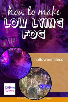Want to make your Halloween front yard graveyard extra scary? Here's an awesome solution - easy Halloween fog that stays low to the ground and is super inexpensive. This easy DIY Halloween outdoor decor will definitely make that scary atmosphere! Halloween Yard Art, Halloween Graveyard, Halloween Bottles, Spooky Halloween Decorations, Halloween Haunted Houses, Outdoor Halloween, Halloween House, Halloween Party, Halloween Stuff