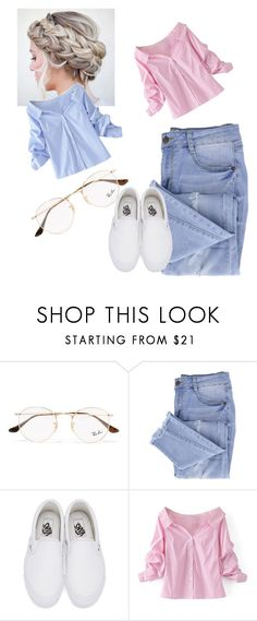 """Making my way downtown"" by veggiegirl101 ❤ liked on Polyvore featuring Ray-Ban, Essie, Vans and WithChic"