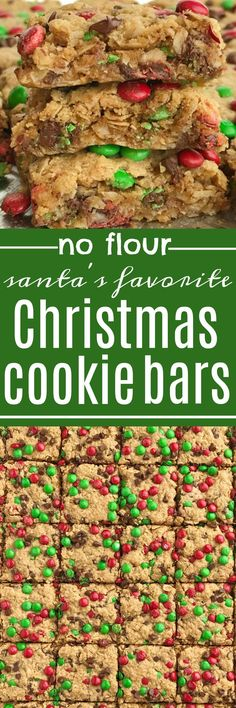 No Flour Monster Cookie Bars | Celebrate the holidays and make Santa's favorite Christmas cookie bars! No flour Christmas cookie bars are loaded with oats, peanut butter, chocolate, and festive green & red mini m&m's. Thick, chewy bars that everyone loves and they only take minutes to make.