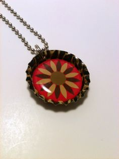 Pink and Tan Flower Bottle cap necklace by LillypadPark on Etsy, $4.95