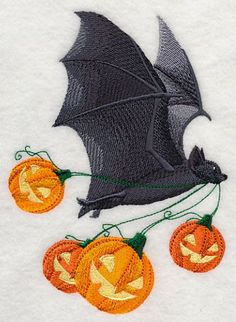 Machine Embroidery Projects Flying Bat with Jack o Lanterns Pumpkins Embroidered Flour Sack Hand/Dish Towel - Machine Embroidery Quilts, Machine Embroidery Projects, Learn Embroidery, Embroidery Applique, Embroidery Stitches, Embroidery Ideas, Quilting Projects, Halloween Embroidery, Halloween Quilts