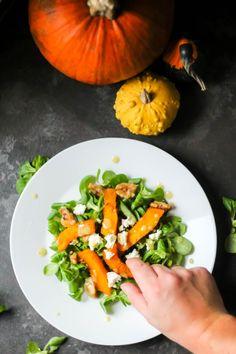 Sałatka z pieczoną dynią i roszponką Feta, Carrots, Salad Ideas, Vegetables, Carrot, Vegetable Recipes, Veggies