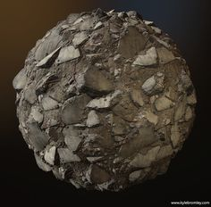 Concrete Rubble Tiling Texture, Kyle Bromley on ArtStation at https://www.artstation.com/artwork/39xwv