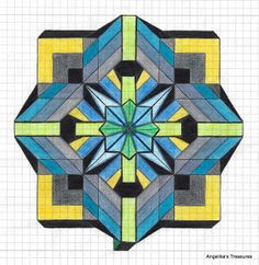 Lots of Graph Paper Art Graph Paper Art, Graph Paper Drawings, Art Drawings, Geometric Drawing, Mandala Drawing, Geometric Art, Zentangle, Easy Pixel Art, Blackwork
