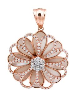 Impressing Natural Shell Pendant With 1.71 Ct White Diamond, 925 Sterling Silver #FacetsJewels #NaturalShellPendant