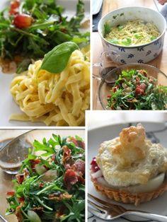Rezept Jamie Oliver 30 Minuten Menü - Sommerpasta - Ruculasalat mit Kräutern, Birnentörtchen und schon hat man ein leichtes und lockers Essen und wie ......