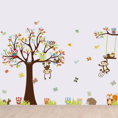 Baby Kids Wall-Decals Bedroom Tree Owl Nursery Stickers Art Room Decor Removable