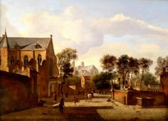 """KDS Photo, Scottish National Gallery, oil painting by Jan van der Heyden, """"A View of Cologne with the Carthusian Church and St. Pantaleon"""", 1660,"""