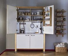 A mini kitchen created with Varde components from Ikea.