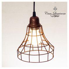 Casa Luminosa Lampara Colgante vintage  en hierro & alambre