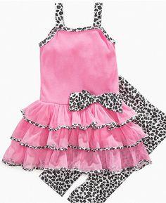 ShopStyle: Kids Headquarters Baby Set, Baby Girls Tutu Dress and Animal-Print Leggings
