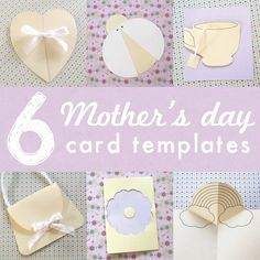 free-6 printable mothers day card templates for kids