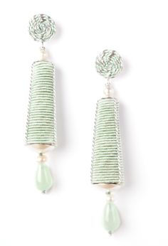 Inspired by feminine silhouette.... Dame earrings made of silver 925, passementerie and coloured jades. www.annaealex.com