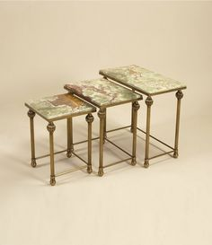 Brass nest of tables in Antiqued Bronze finish with - LT7994.... Every living room or den should have a set of nesting tables!