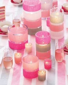Easy candle decorations using streamers. www.tentluxuryhire.com.au