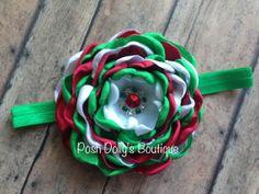 Christmas Headband Satin Flower Bow Holiday by PoshDollysBoutique, $11.95