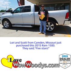 That looks like a perfect match! Lori and Scott are leaving the dealership in a magnificent Ram 1500. Congratulations! 🎉  #wow #wowwoodys #woodysautomotive #cars #trucks #suvs #carsforsale #trucksforsale #suvsforsale #kansascity #chillicothe #customerreviews #customertestimonials #wowcarbuying #carshopping #happycustomers #2015ram1500 #2015ram #ram1500 #ram #1500