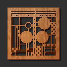 Unique laser cut cherry wood trivets with padded feet featuring some of Frank Lloyd Wright's most famous and creative designs at the best sales prices.