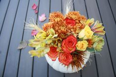 fall pumpkin flower arrangement for the past several years. A few years back I carved a real pumpkin and planted mums in it for the front porch. Holidays Halloween, Halloween Decorations, Table Decorations, Pumpkin Flower, Fall Photos, Fall Pumpkins, Flower Arrangements, Roots, Floral Wreath