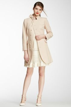 RED Valentino Bow Neck Wool Blend Pea Coat by RED Valentino on @HauteLook