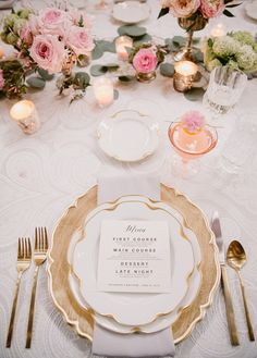 Pink And Gold Place Setting Pink Weddings Pinterest
