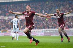Andrea Belotti (left) of Torino FC celebrates after scoring ...