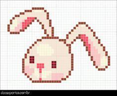 little rabbit - hama beads Kawaii Cross Stitch, Cross Stitch For Kids, Mini Cross Stitch, Cross Stitch Fabric, Cross Stitch Animals, Cross Stitch Charts, Cross Stitching, Cross Stitch Embroidery, Cross Stitch Patterns