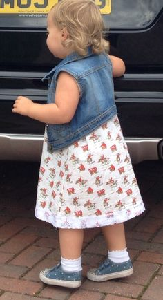 Cath Kidston cowboy print material - made into a-line dress with lace trim