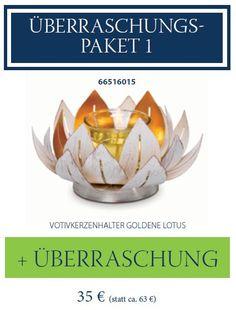 Überraschungspaket 1 von PartyLite - VOTIVKERZENHALTER GOLDENE LOTUS + ÜBERRASCHUNG für nur 35.- Euro!