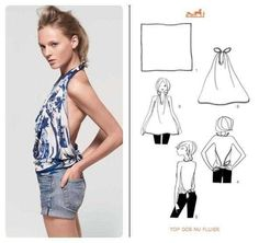 Hermès' list of 21 ways to tie a scarf - Top Dos Nu Fluide Scarf Shirt, Scarf Top, Diy Scarf, Ways To Wear A Scarf, How To Wear Scarves, Diy Fashion Hacks, Fashion Tips, Fashion Beauty, Upcycled Clothing