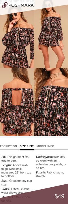Free People Floral Print Romper Let your wild side loose in the Free People Pretty and Free Black Floral Print Romper! Soft woven rayon features a mauve, purple, and beige floral print, across an elasticized off-the-shoulder neckline and long sleeves with elastic cuffs. Breezy bodice, with back cutout, tops a stretchy smocked waist and fluttering shorts. Note: Garment either comes with a Free People rag or a Lulu's tag  Unlined. 100% Rayon. Machine Wash Cold. Imported. Free People Dresses