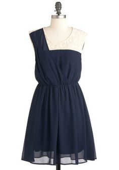 Filled with Happiness Dress: The bubbling glee that rises within you when you slip into this fine frock is not a coincidence – the white lace shoulder and upper torso as well as the fully-… Navy Dress Outfits, Navy Bridesmaid Dresses, Blue Dresses, Summer Dresses, Formal Dresses, Formal Wear, Mod Dress, Dress Up, Plus Size Homecoming Dresses