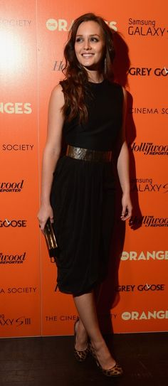 Who: Leighton Meester  Whom: Giambattista Vali Fall 2012  Where: Screening of 'The Oranges' - Tribeca screening room  Why: A simple LBD with chiffon draping can be made ultra cute and uber sexy with the play of footwear. Wearing Jerome C. Rousseau leopard print pumps with a gold belt, this is the 'Dress of the Day' !