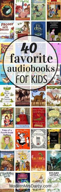 40 favorite audiobooks for kids. Perfect for those summer road trips!