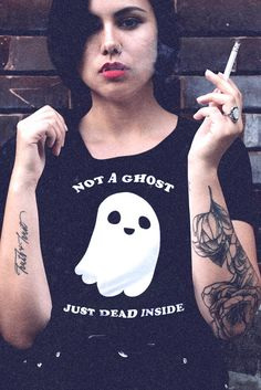 Pastel Goth Style Not a Ghost Dead Inside Shirt