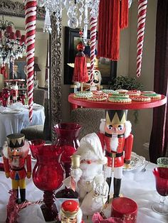 The star of the table is the beautiful nutcracker  serving platter that stands tall above the others.
