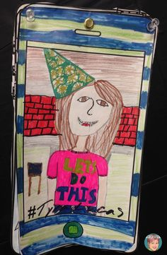 New year's goal setting for students and teachers. Selfie drawing and texting!