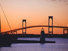 The Newport bridge spans Narragansett Bay, connecting Aquidneck Island (Newport) to Conanicut Island (Jamestown).