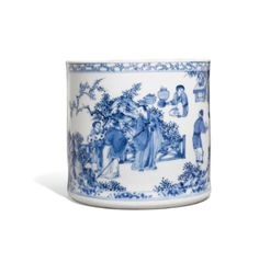 A Blue and White 'Seven Sages of the Bamboo Grove' Bushpot, Bitong Qing Dynasty, Early Kangxi Period - Sotheby's