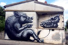 #ROA Mural in Sardinia. While the piece honors the Sardinian wild boar, which is characterized for its compact head and stubby legs, the boar and skull also signify the endless cycle and perpetual relationship between life and death.
