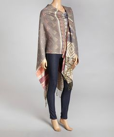 Another great find on #zulily! Brown & Ivory Tribal Reversible Shawl - Women #zulilyfinds