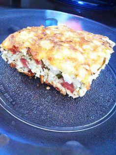 Torta de ricota com presunto de peru - esta e muitas outras #receitasdukan você encontra no Dieta e Receitas! #tortadukan