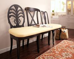 Turn mis-matched chairs into an upholstered bench with this step-by-step project!