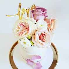 Engagement Cake: Semi-naked buttercream with fresh blooms. Engagement Cakes, Fancy Cakes, Frost, Wedding Cakes, Naked, Birthday Cake, Desserts, Pastries, Wedding Gown Cakes