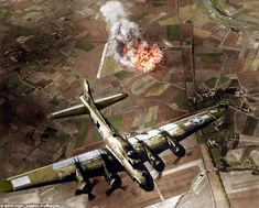Dramatic images show an 8th Air Force B-17 warplane flying over Marienburg in Germany in 1...