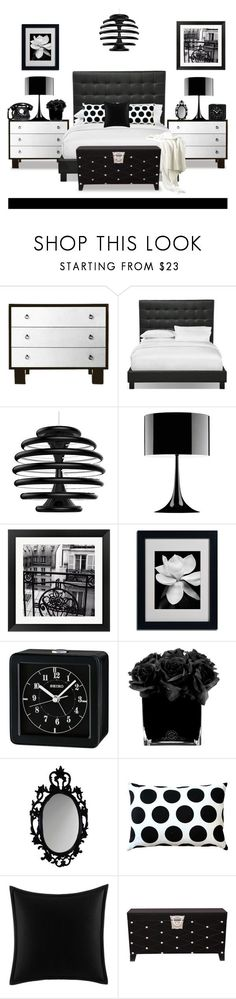 """Black and White Bedroom"" by terry-tlc ❤ liked on Polyvore featuring interior, interiors, interior design, home, home decor, interior decorating, Ilomio, Flos, Evive Designs and Seiko Watches"