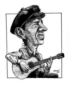 Caricatura de Carlos Vidal (tinta china sobre cartulina)
