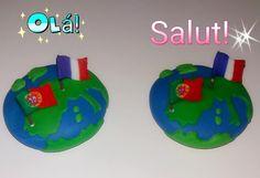 Ímanes do Planeta Terra com bandeiras de França e Portugal modelados à mão em biscuit / porcelana fria. ACEITO ENCOMENDAS!
